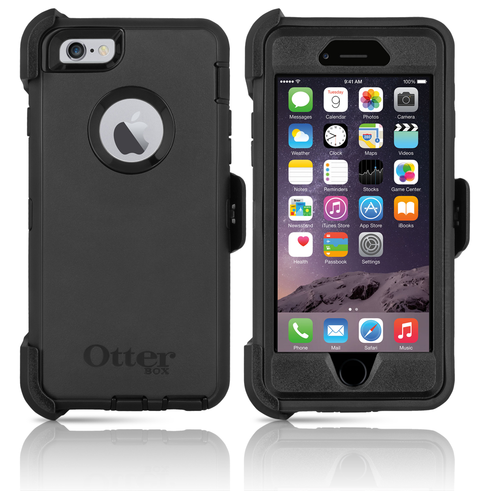"OtterBox Defender Series Case & Holster for Apple iPhone 6 / 6S 4.7"" - Black (Certified Refurbished)"
