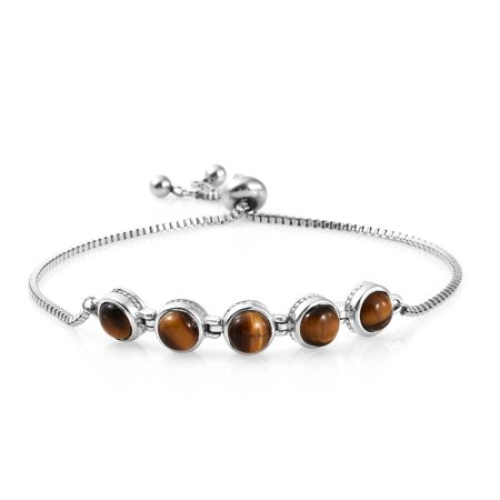 - Hypoallergenic Tigers Eye Platinum Tennis Bracelet for Women Size Adjustable Jewelry Gift