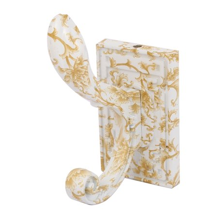 Uxcell bathroom ceramic flower printed wall mount coat towel hanging double hook hanger for Ceramic towel hooks for bathrooms