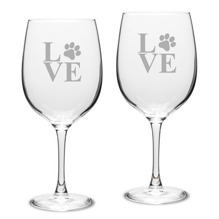 Paw Print LOVE Deep Etched Classic Red Wine Glass Set of 2 American Classic Wine Set