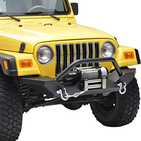 E-Autogrilles 87-06 Jeep Wrangler TJ/YJ Off Road Front Bumper with 2x D-ring & Winch Plate (Best Winch For Jeep Wrangler)