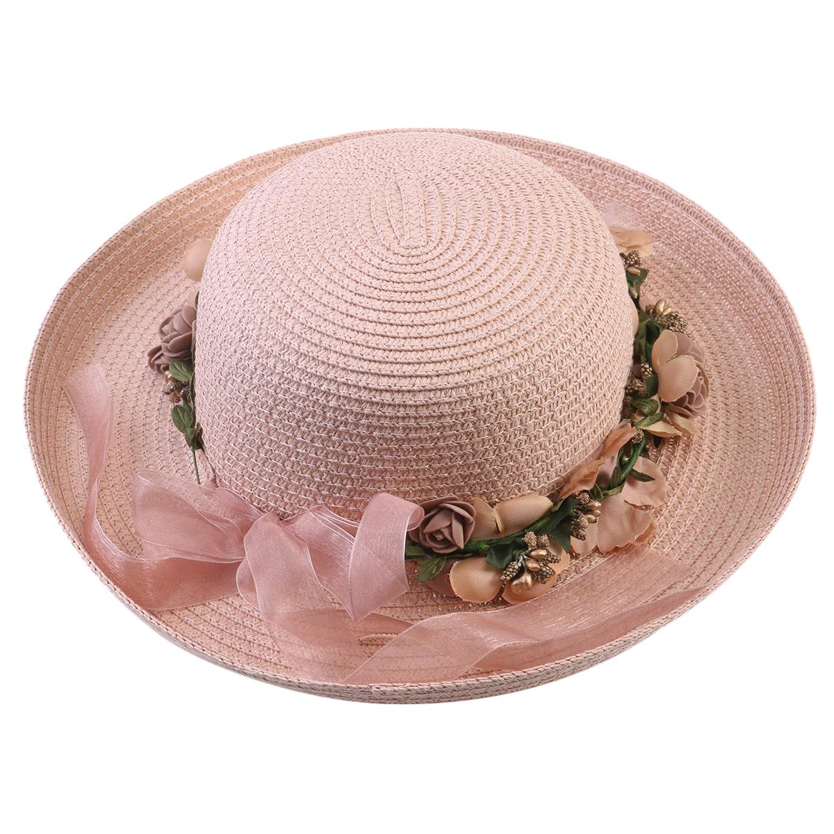 1d2d3412 Pixnor - Women Lady Wide Brim Hat Summer Beach Straw Cap Sun Floppy Hats  for Adults (Flesh Pink Garland) - Walmart.com