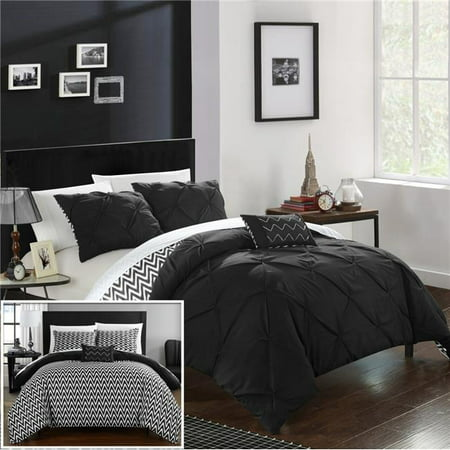 Black Pillow Sham (Chic Home CS2284-US Everly Pinch Pleated, Reversible Chevron Print Ruffled & Pleated Complete Comforter Set with Shams & Decorative Pillows - Black - Full & Queen - 4)