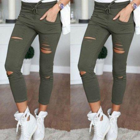 High Waist Slim Skinny Women Leggings Stretchy Pants Jeggings Pencil Pants Green Size XXL](Green Leggings)