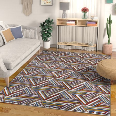 - Essence Multi Red Blue & Yellow Modern Geometric High-Low Pile Area Rug 3x5 (3'11