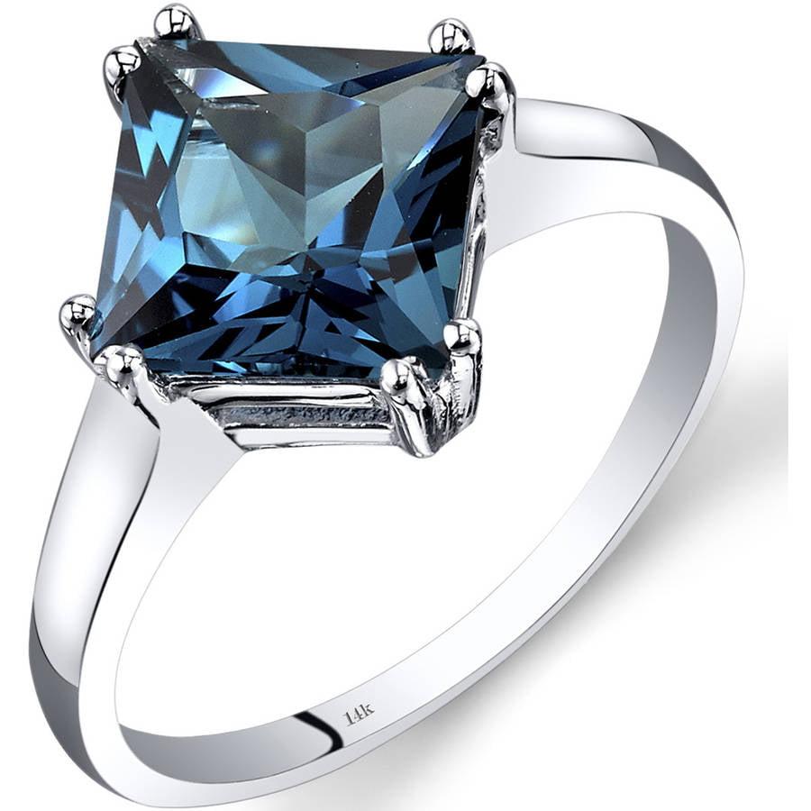 Oravo 2.75 Carat T.G.W. Princess-Cut London Blue Topaz 14kt White Gold Ring by Oravo