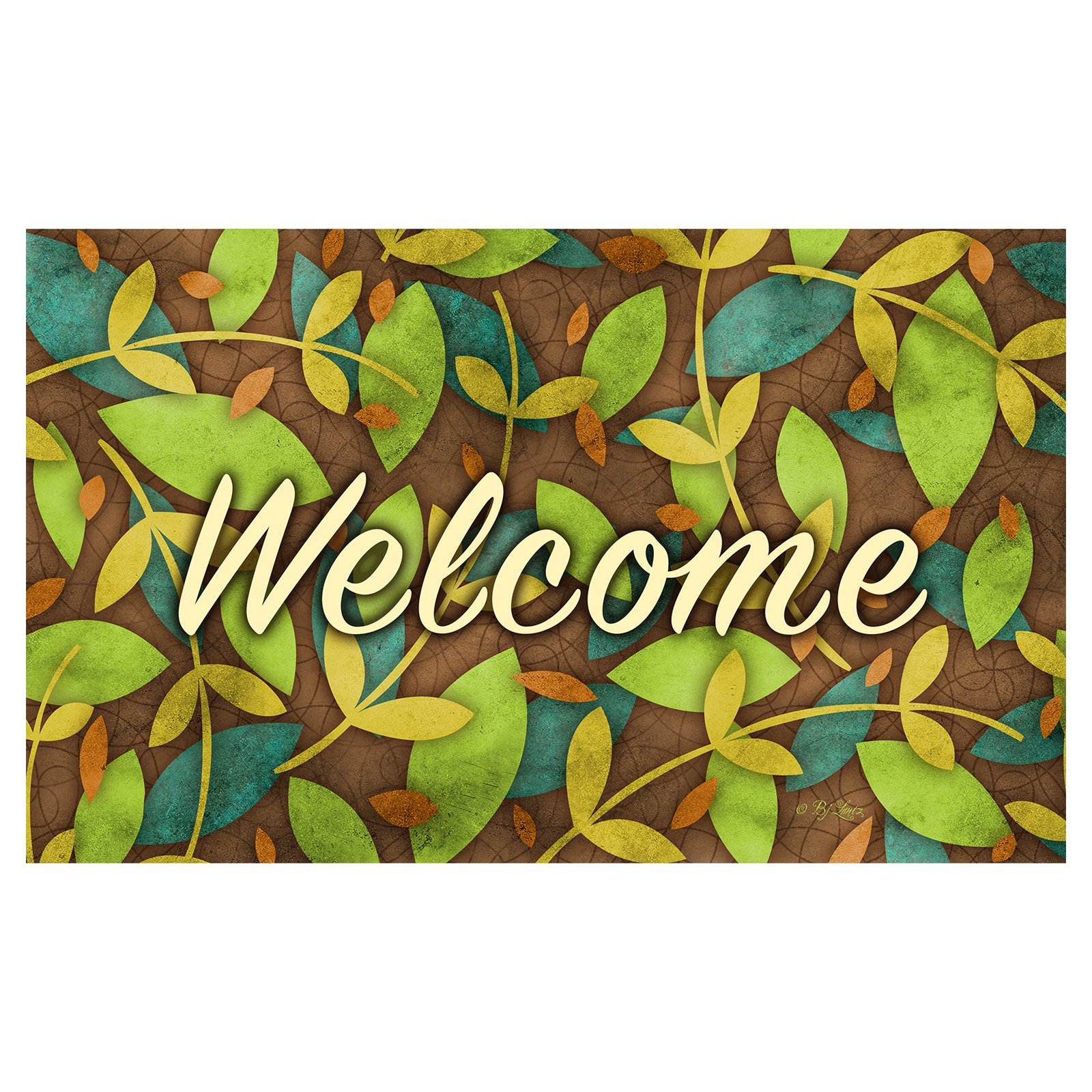 Toland Home Garden Autumn Leaves Welcome Doormat - Polyester / Rubber