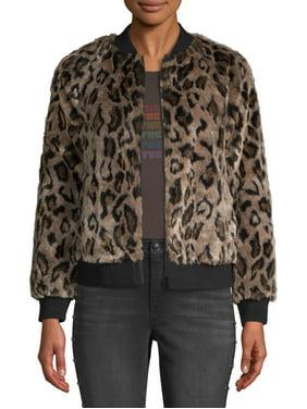 Scoop Faux Fur Leopard Zip Up Bomber Jacket Women's