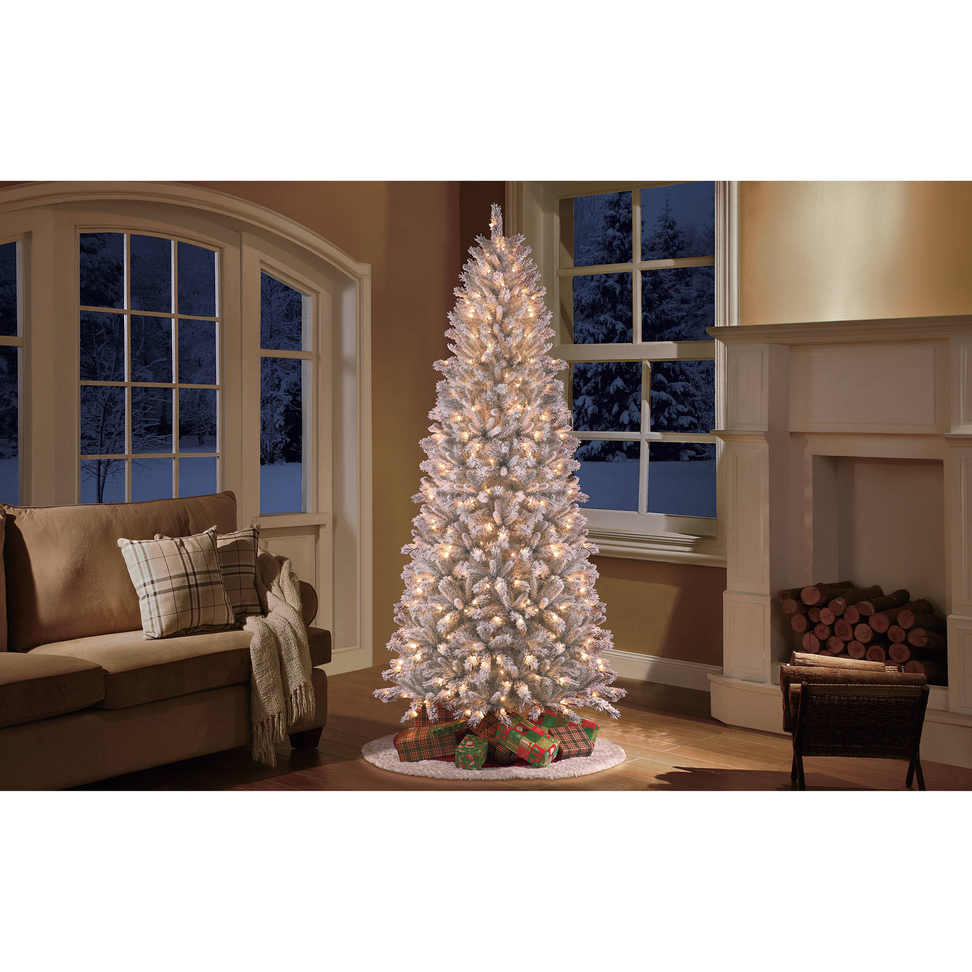Holiday Time Pre-Lit 9' Slim Winter Frost Pine Artificial Christmas Tree, Clear Light