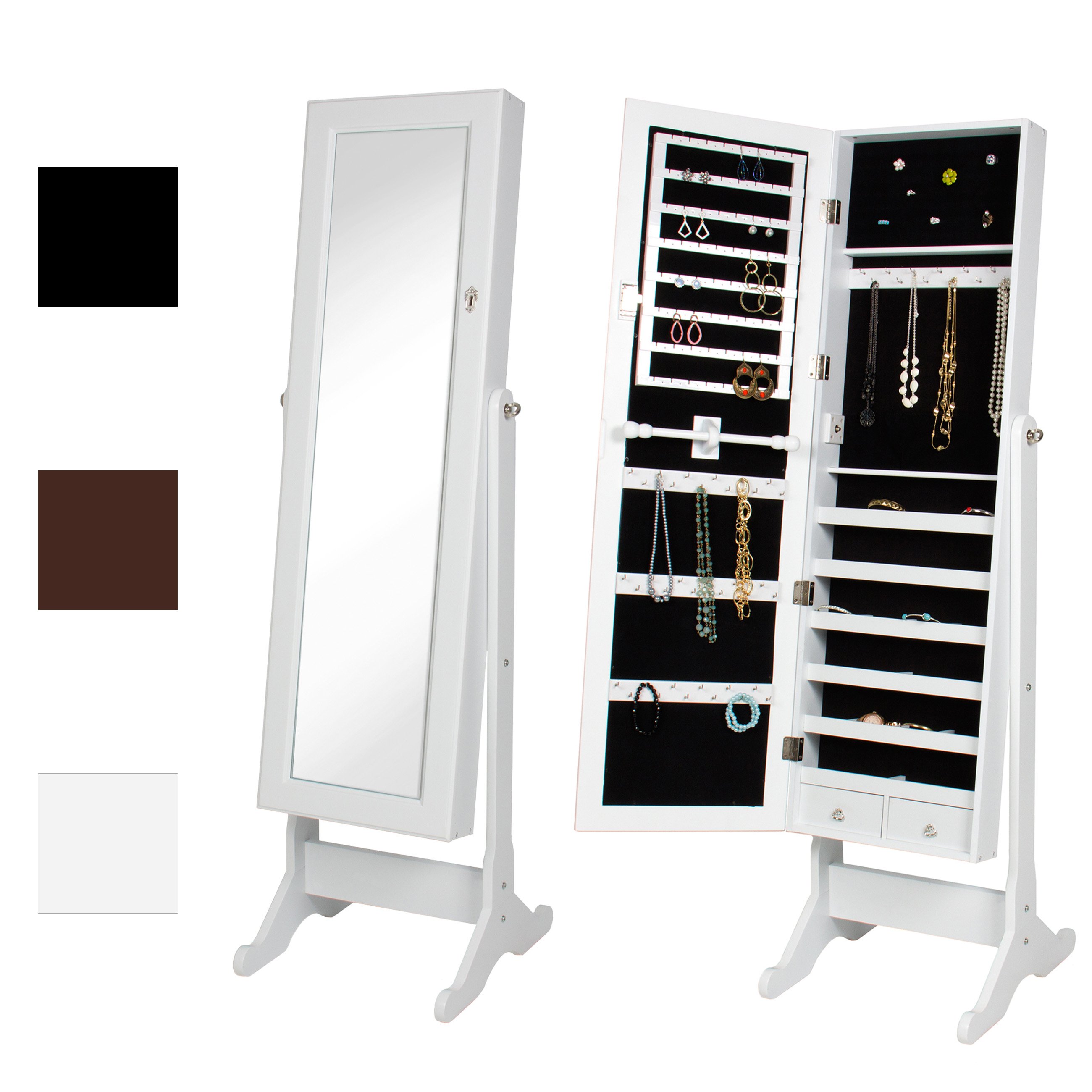 Mirrored Jewelry Cabinet Armoire W/ Stand Mirror Rings, Necklaces, Bracelets