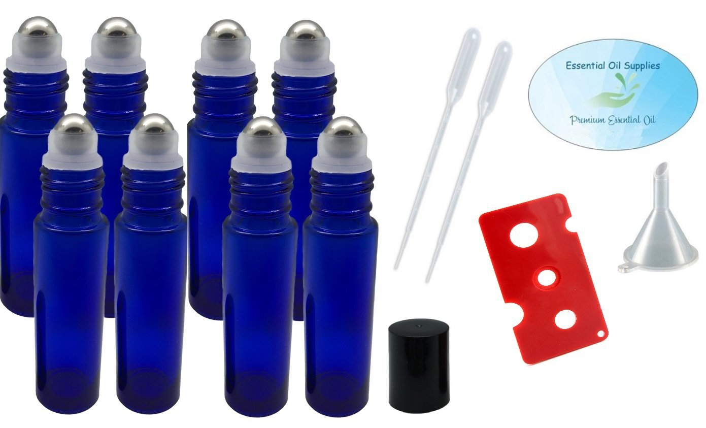 10ml Cobalt Blue Glass Roller Bottles with Stainless Steel Balls (Pack of 8), Pipettes, Funnel, and Essential... by