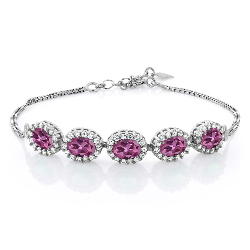 4.54 Ct Oval Pink Tourmaline AA 925 Sterling Silver Bracelet by