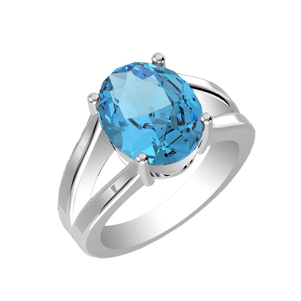blue for bride Unique modern design Christmas present blue sky engagement ring Solitaire band ring with blue topaz