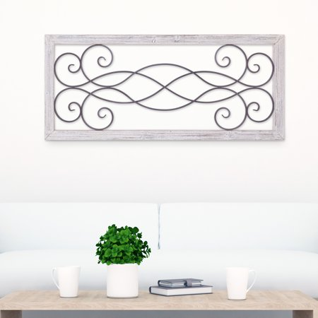 Patton Wall Decor Rustic White Washed Wood and Metal Decorative Scroll Wall - White Metal Wall