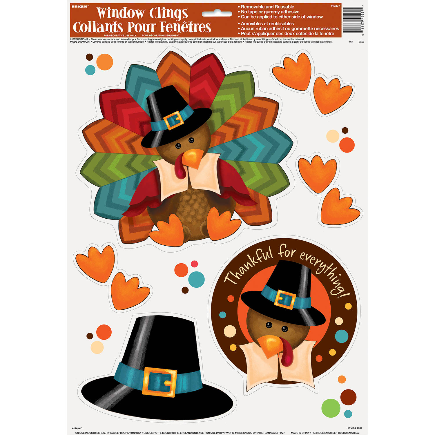 Cute Turkey Thanksgiving Window Clings
