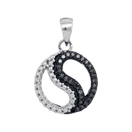 10kt White Gold Womens Round Black Color Enhanced Diamond Ying Yang Circle Pendant 1/10 Cttw - image 1 de 1