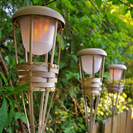 2 Pcs Outdoor String Lights Tiki Torch Light Bamboo Flickering Led Battery Operated Luau