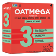 Oatmega Chocolate Mint Protein Bar, 4 Ct, 1.76oz each, 14g Protein, Grass-Fed Whey, Omega 3