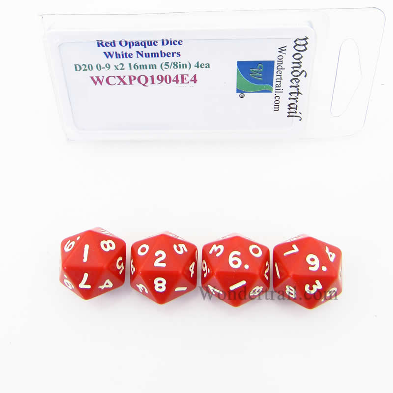 Red Opaque Dice with White Numbers D20 0-9 Twice 16mm (5/8in) Pack of 4 Wondertrail