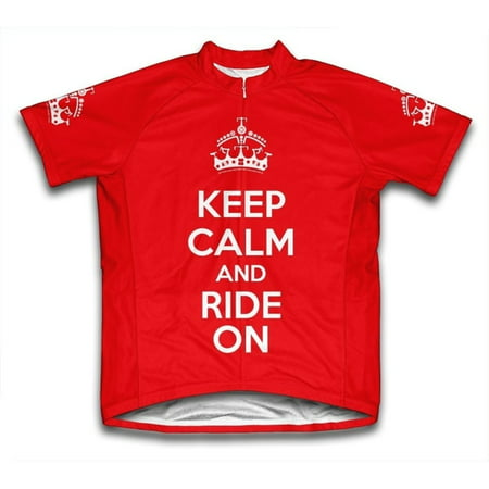 - Keep Calm and Ride On Microfiber Short-Sleeved Cycling Jersey, Red, XL