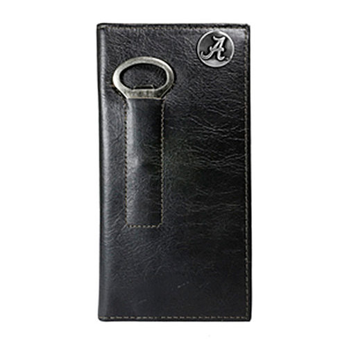 NCAA - Alabama Crimson Tide Leather Tall Wallet with Bottle Opener - Brown