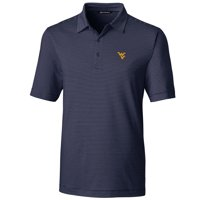 West Virginia Mountaineers Cutter & Buck Big & Tall Forge Pencil Stripe Polo - Navy