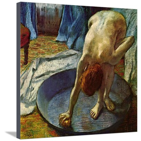 Woman in a Tub, 1886 Pastel Nude Figurative Bath Painting Stretched Canvas Print Wall Art By Edgar Degas
