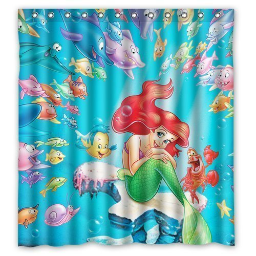 DEYOU The Little Mermaid Shower Curtain Polyester Fabric Bathroom Shower Curtain Size 66x72 inches