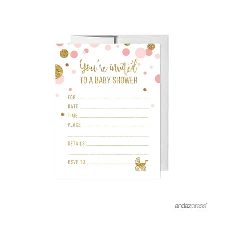 Blush Pink Gold Glitter Baby Shower Blank Invitations with Envelopes, - Cents Blank
