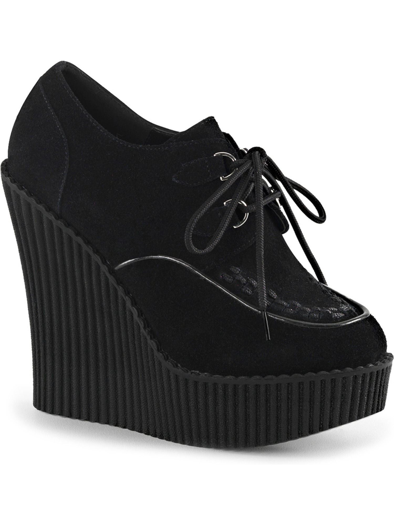 Womens Black Suede Wedges Vegan Platform Creepers Shoes Lace Up Boots 5 1/4 In
