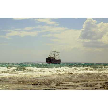 LAMINATED POSTER Sailboat Coast Sea Clouds Ship Cruise Waves Poster Print 24 x