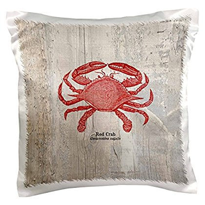 3dRose Red Crab on Wood- Beach Themed Art- Fish, Pillow Case, 16 by 16-inch