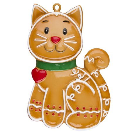 Gingerbread Cat Personalized Christmas Ornament -