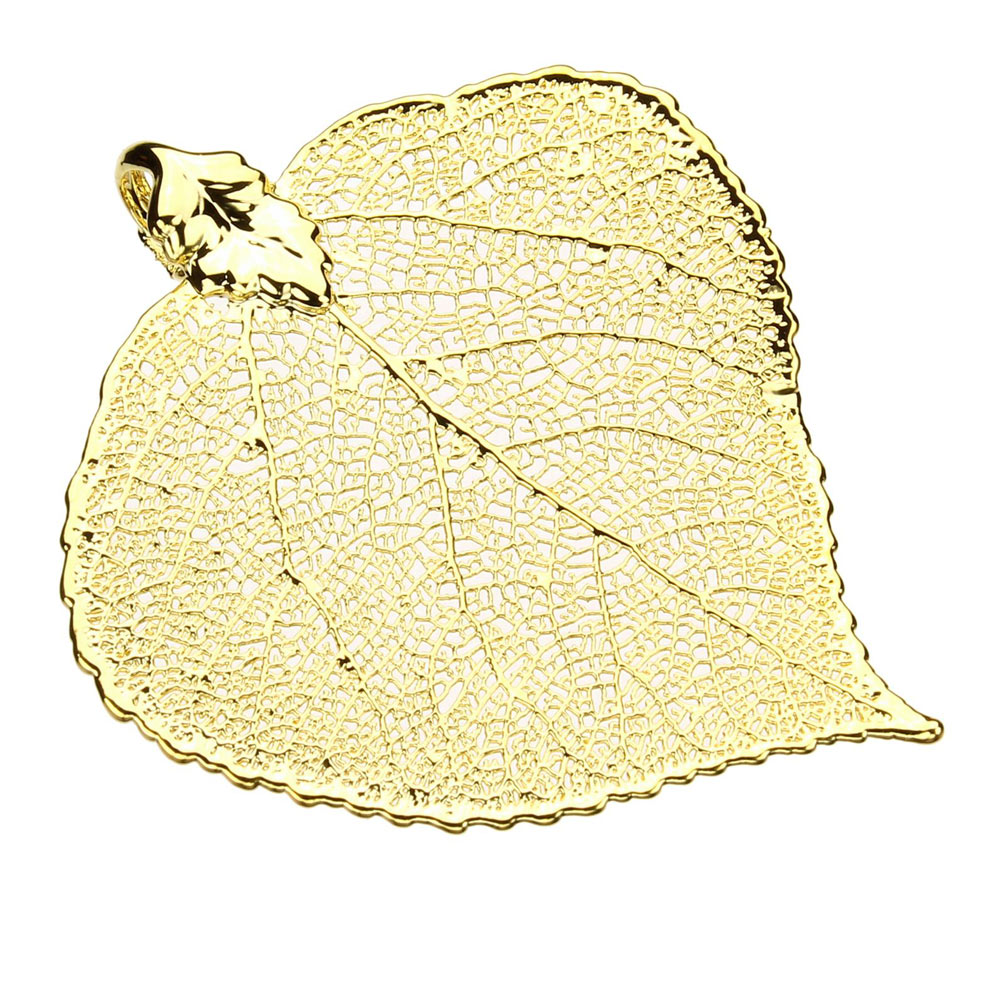 Gold-Plated Aspen Leaf Pendant 18k Gold-Flashed Sterling Silver Curb Chain Necklace 20