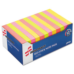 7530013930103 Self-Stick Note Pads, Assorted Neon Colors, Dozen