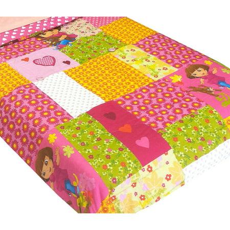 Franco Manufacturing Company Inc 12440358 Dora Explorer Puppy Patchwork Full Bed Comforter Dora The Explorer Toddler Quilt