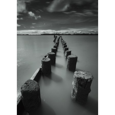 Wooden posts leading out into the riverVancouver british columbia canada Stretched Canvas - James Ingham  Design Pics (13 x 18) (Halloween Pics To Post)