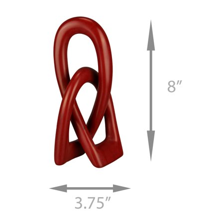 Red Hand Carved Natural Stone Love Knot Sculpture - image 1 de 4