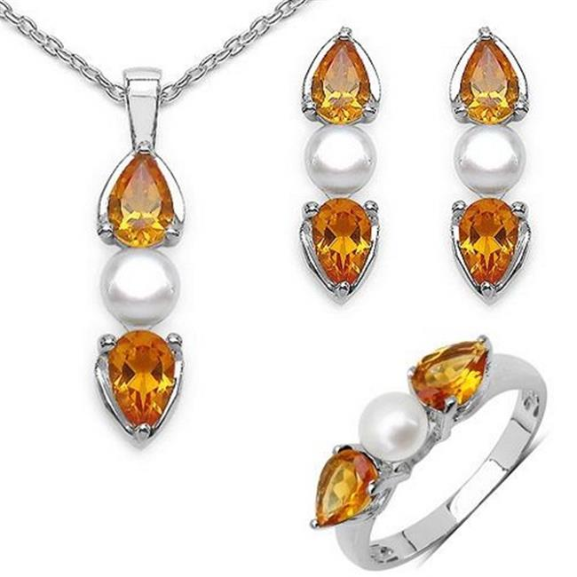 Majesty Diamonds Pear Cut Citrine With Pearl Pendant Set in 0.925 Sterling Silver & Chain, 6.1 Carat
