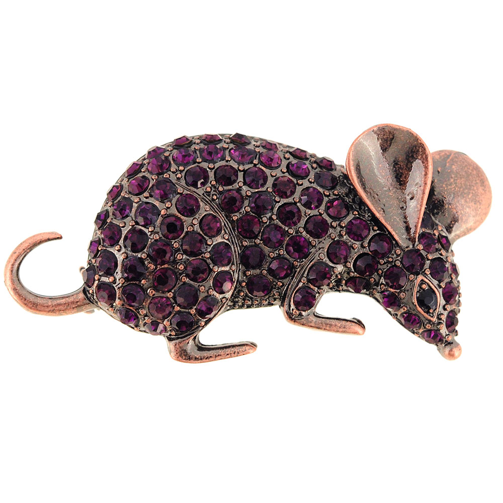 Purple Amethyst Mouse Crystal Pin Brooch by