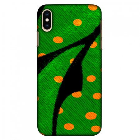 iPhone XS Max Case Tempered Glass Combo, Ultra Slim Designer Back Cover with Tempered Glass Screen Protector for iPhone Xs Max (2018) - Lady Bug - Mustard Dots On Butterfly Fibre Wing