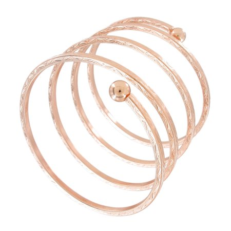 Rose Gold Tone Quad Sprial Bangle Statement Forearm Bracelet 3 Extra Wide
