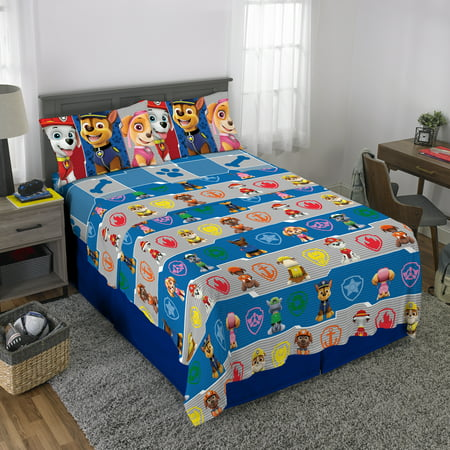 PAW Patrol Microfiber Kid Bed Sheet Set, Marshall Chase and Skye