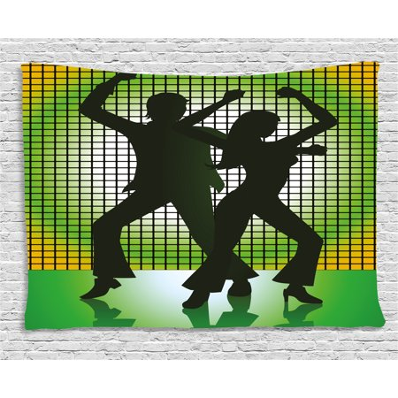70s Party Decorations Tapestry, Silhouette Illustration of Couple Dancing in Disco, Wall Hanging for Bedroom Living Room Dorm Decor, 80W X 60L Inches, Light Green Dark Green Yellow, by Ambesonne