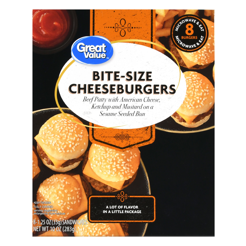 Great Value Frozen Bite-Size Cheeseburgers, 10 oz, 8 Count