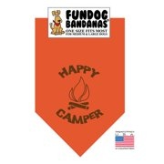 Fun Dog Bandana - Happy Camper - One Size Fits Most for Med to Lg Dogs, burnt orange pet scarf