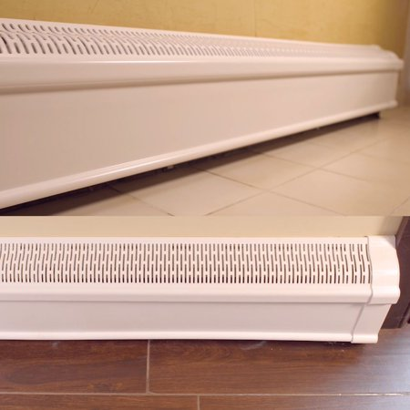 (Baseboard Heat Covers COMPLETE SET - INCLUDES Right and Left End Caps | Hot Water, Hydronic Heater Baseboard Cover Enclosure Replacement Kit for Home - Rust-Proof Plastic - 4' White)
