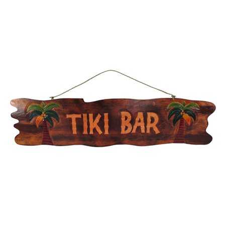 Wooden Tiki Bar - 39 In. Hand Carved `Tiki Bar` Sign with Palm Trees
