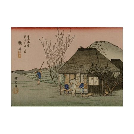 Two Travelers Drink Tea at a Rest Area on the Tokaido Print Wall Art By Utagawa Hiroshige
