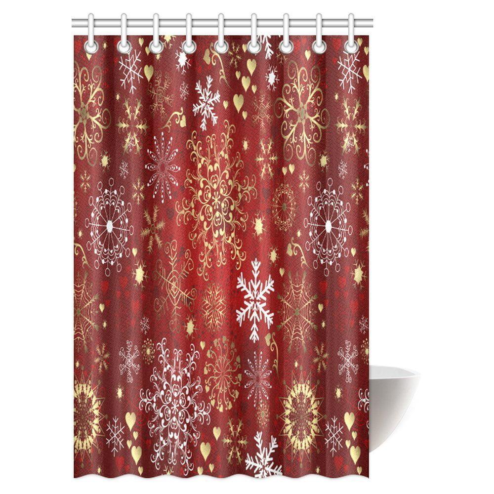 Winter Themed Christmas Decorations: MYPOP Christmas Shower Curtain, Xmas Vintage Celebration